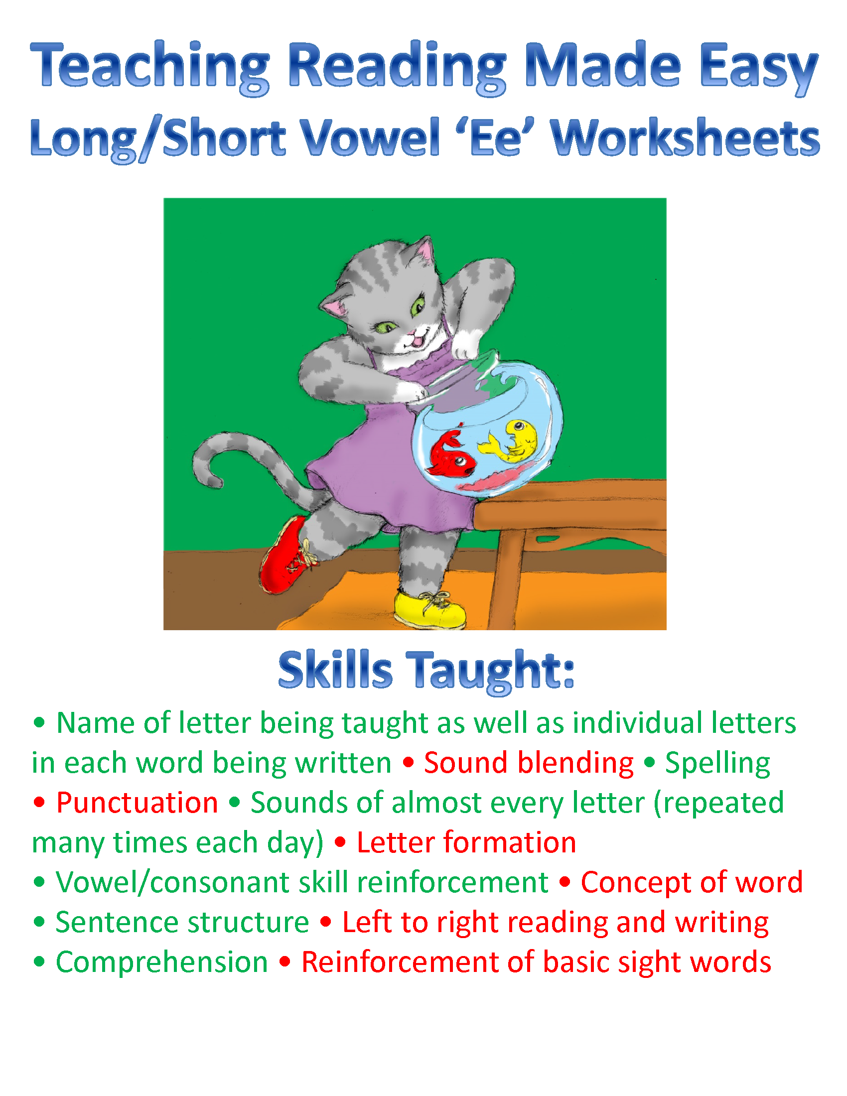 Teach The Vowels Short Long Ee Worksheets