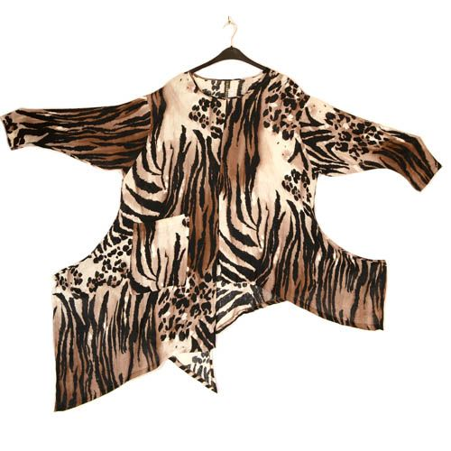 Champagne Sophisticated Brown & White Linen Animal Print Tunika ...