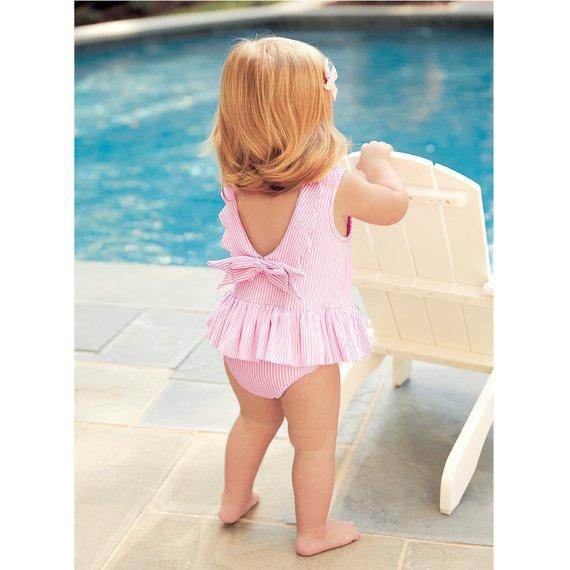 253cf032d2 Monogrammed Seersucker Swimsuit | Products | Baby girl swimsuit ...