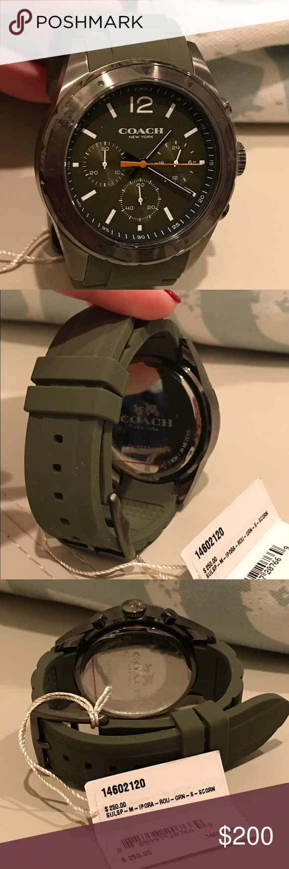 COACH Green Chronograph Watch Brand new Coach men's watch. Metal Hardware with a rubber strap. Classy and sporty at the same time. Color is military green. Protective plastics still in place. Never been used. Coach Accessories Watches