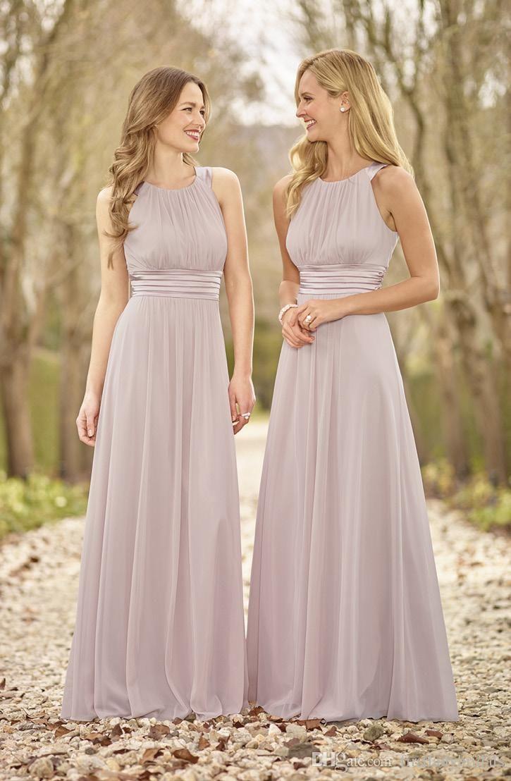 Lange Brautjungfer Kleid 2016 Eine Linie Bodenlangen Chiffon Brautkleider Einfaches Elegantes Kleid Fur Kleider Hochzeit Brautjungfern Kleider Trauzeugin Kleid