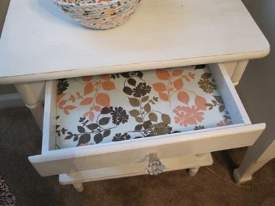 Fabric-lined drawers with Mod Podge