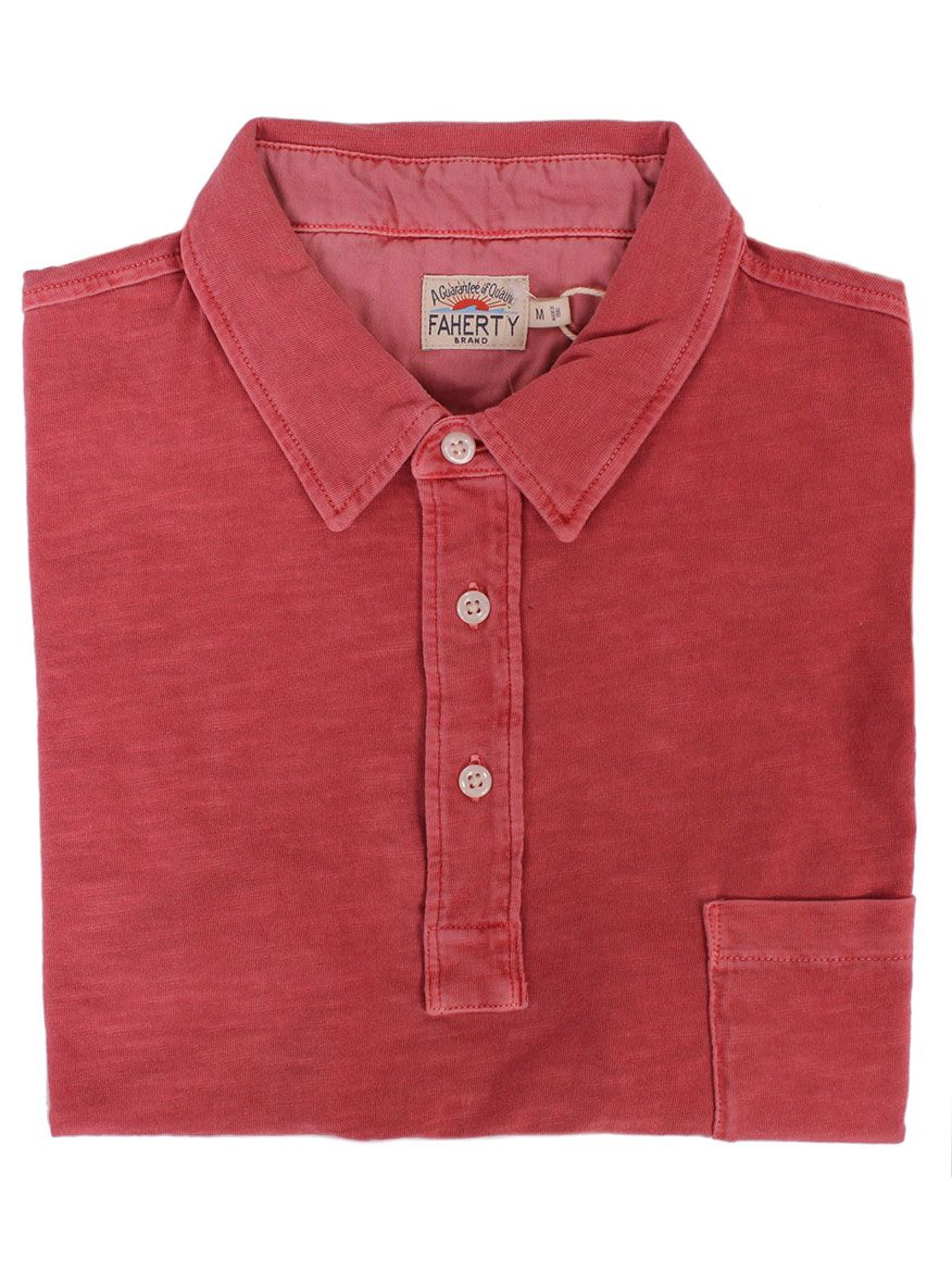 6c497800006b Faherty Brand Sunwashed Polo in Faded Red