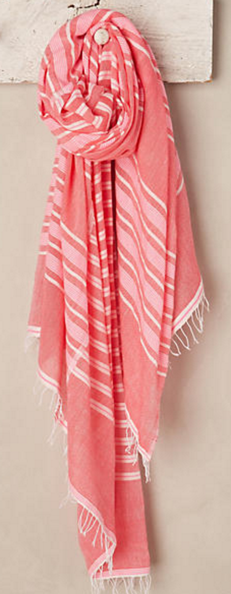 Pink and white stripe travel scarf