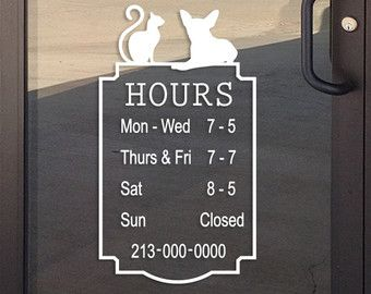 Pet Grooming Salon Dog Daycare Veterinarian Business Hours Decal - Window stickers for business hours