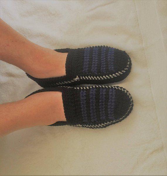 Pantofole a maglia, per lui e per lei, scarpe di filato ...