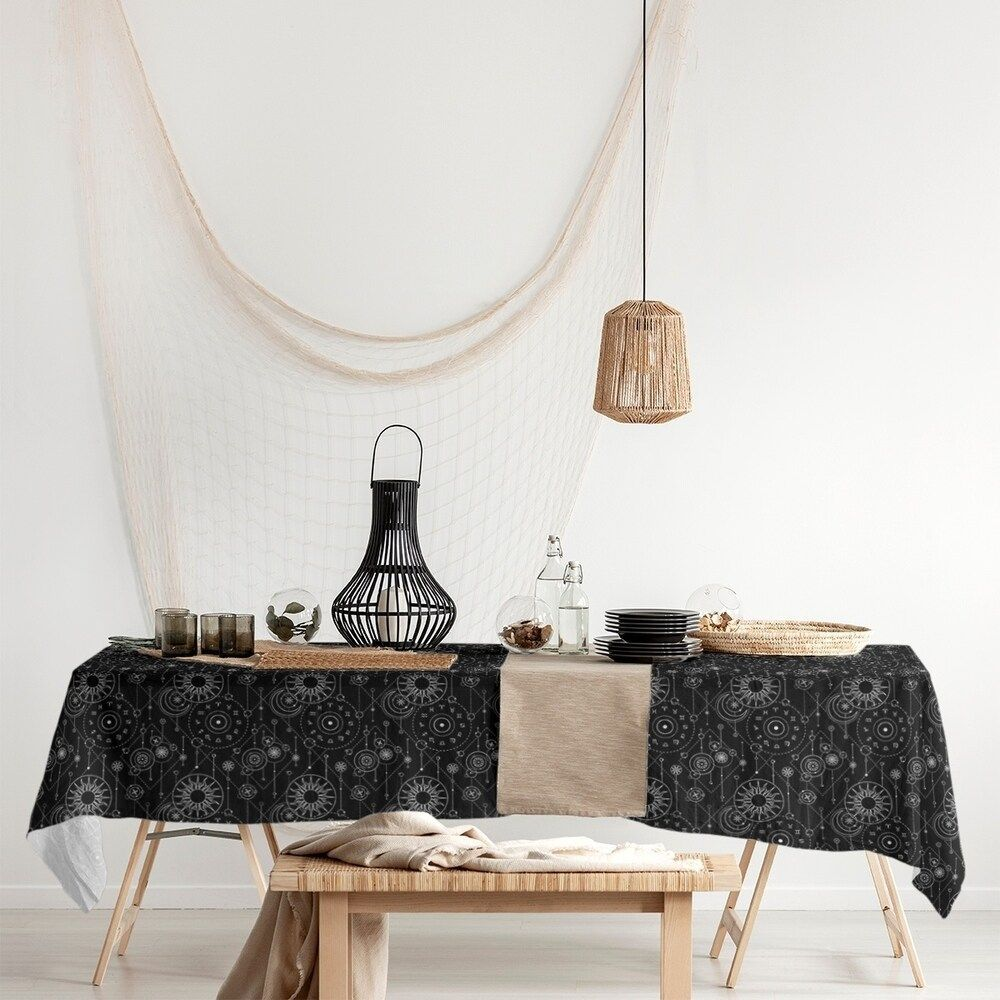 Astrology Pattern Rectangle Tablecloth 58 x 102 (Black