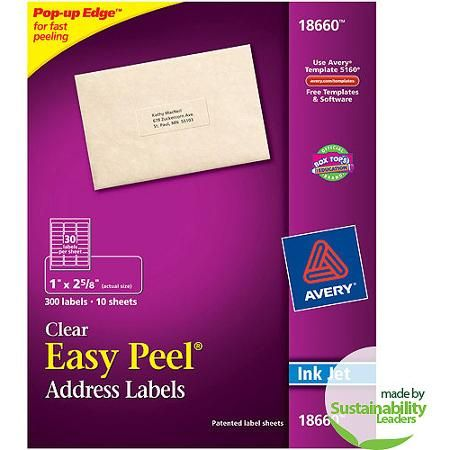 Avery Address Labels Sure Feed 1 X 2 5 8 300 Clear Labels 18660 Walmart Com Clear Address Labels Address Label Template Avery Address Labels