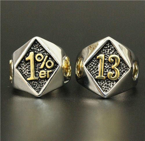 Gold Sliver 1 Lucky Number 13 Biker Ring Set Crows Army Rings