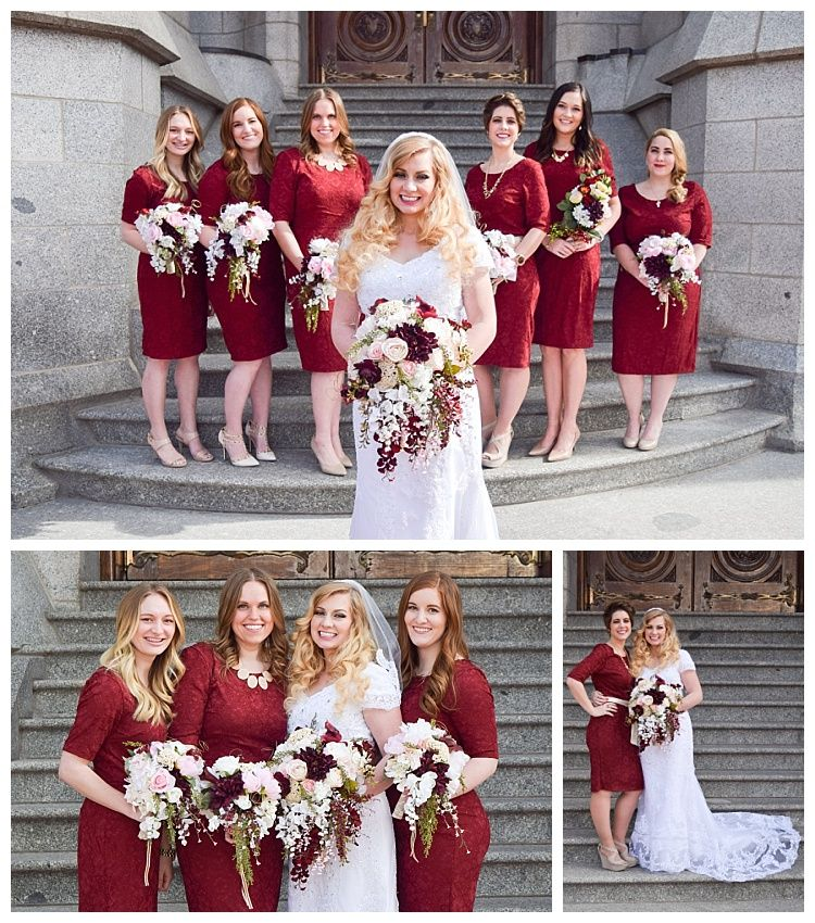 Wedding party on the steps of the Salt Lake Temple on LDS Bride Blog