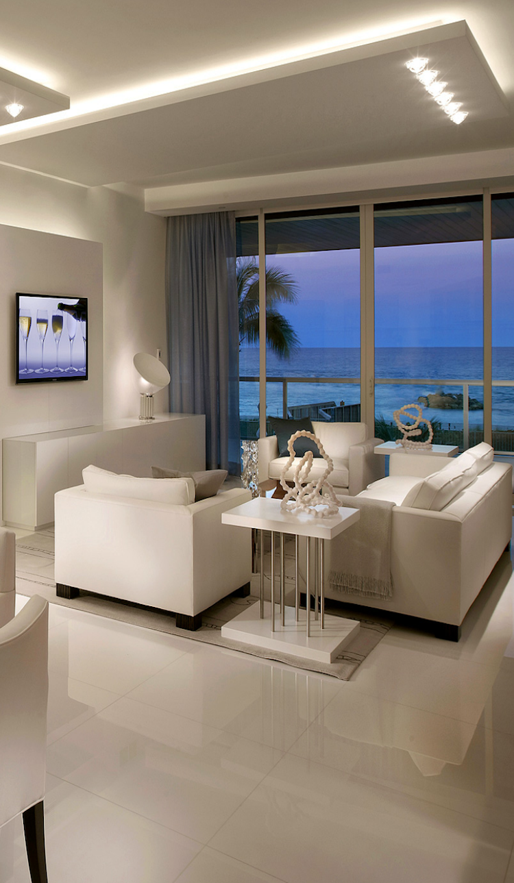 Modern white interior design home living room with view for Condo ceiling design