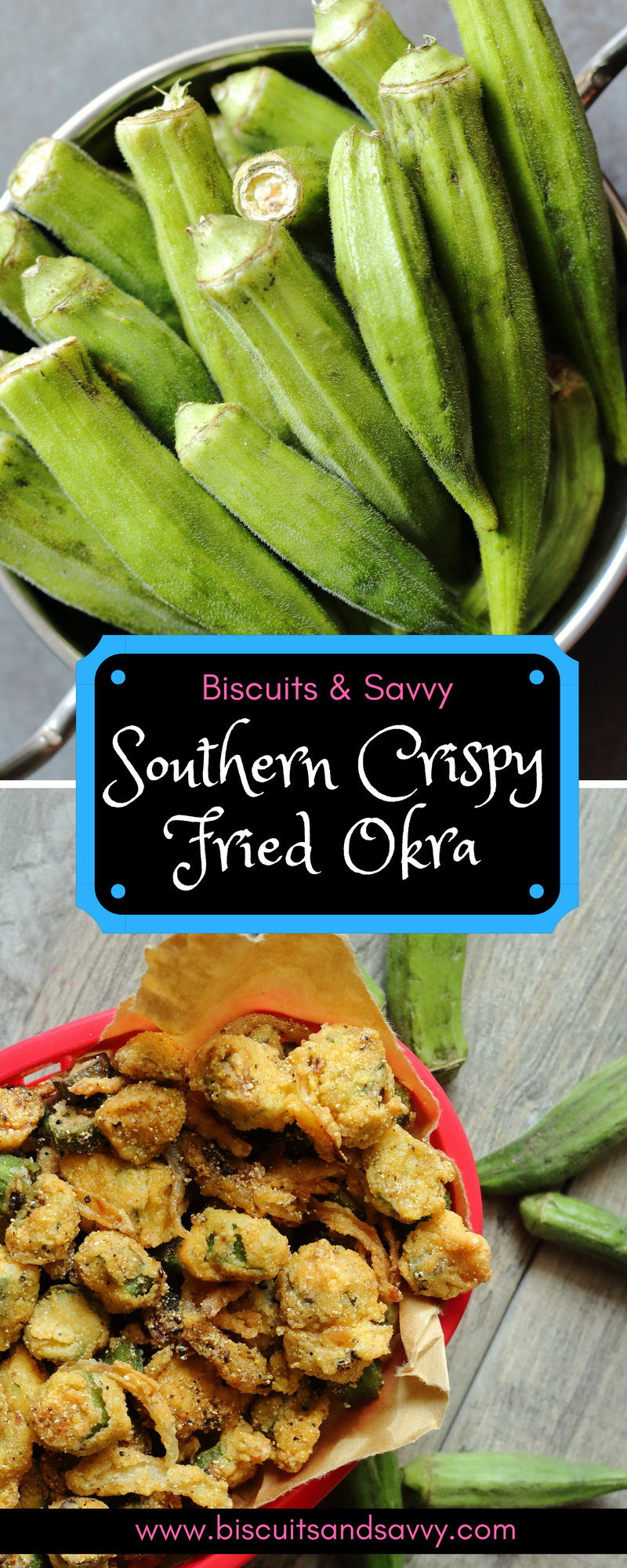Southern Crispy Fried Okra is a quick, simple way to start your summer off right. A blend of corn meal and flour seasoned to perfection, coupled with egg, creates a batter for okra that makes a crunch you will not forget. #summersouthernfood