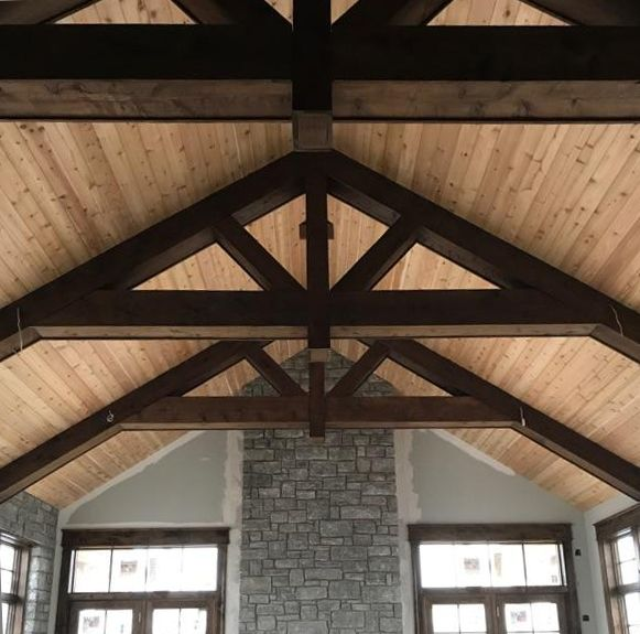 Truss Ceiling In Progress That S A Cedar Ceiling And Wrapped