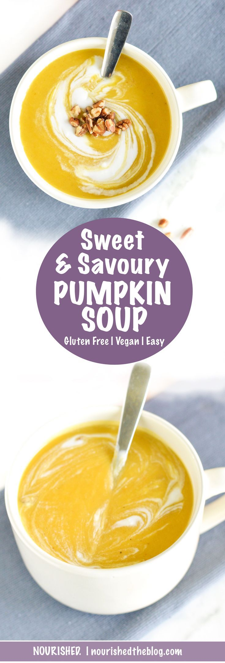 This Sweet and Savoury Pumpkin Soup is a little sweet and a little savoury made with lots of pumpkin and a lot of deliciousness like pumpkin spice, garlic and onions then topped with a pretty coconut milk swirl. This Pumpkin Soup just tastes like fall should!