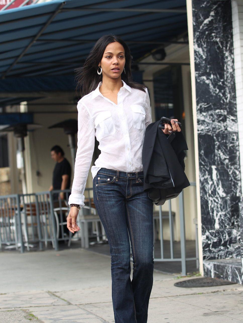 Zoe Saldana white shirt flared jeans jacket handbag | Back to ...