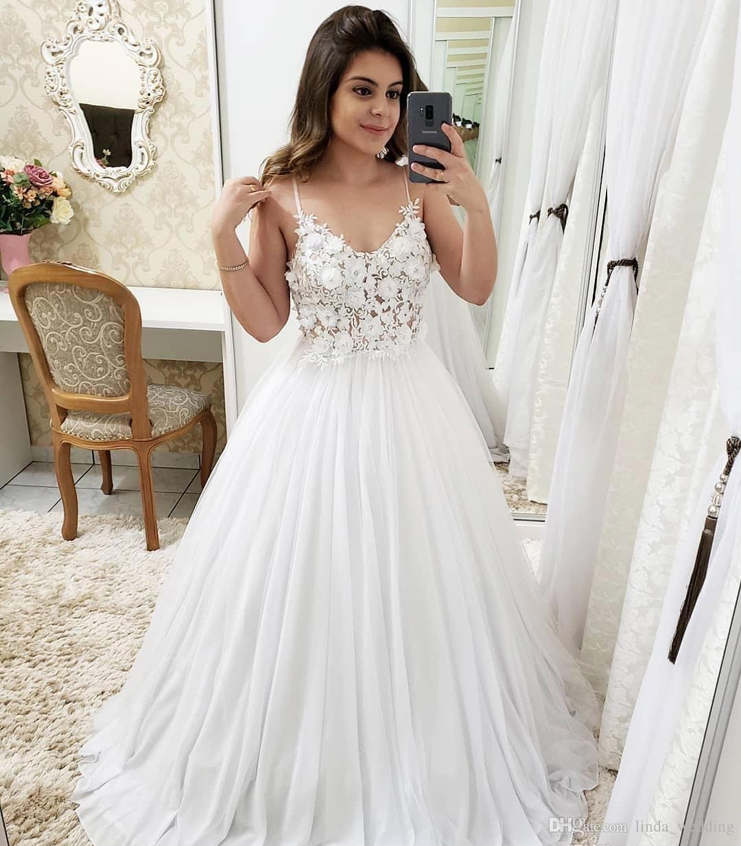 Spaghetti Strap Wedding Gown Receptions discount