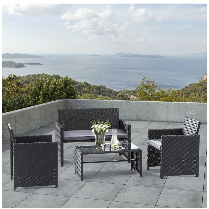 Wilsa Garden Ensemble Lounge Noir Outdoor Furniture Sets
