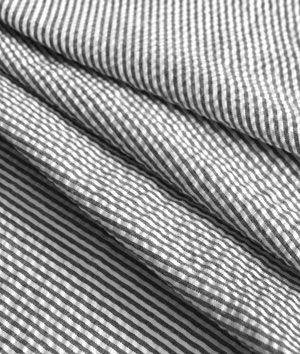 Robert Kaufman Black Seersucker Stripe Fabric Striped Fabrics