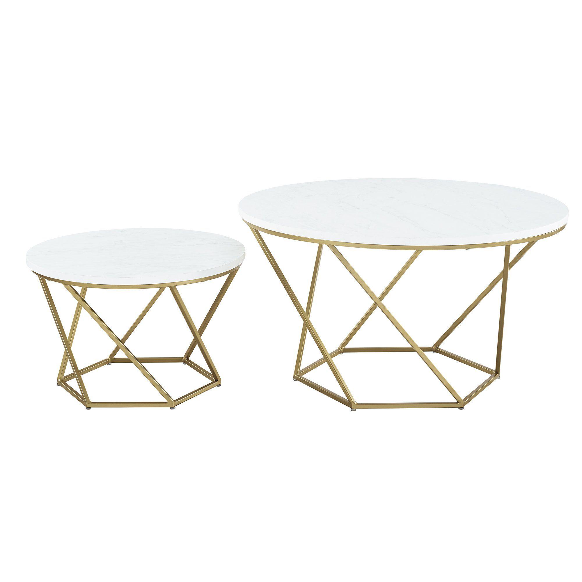 Modern Nesting Coffee Table Set White Marble Gold Stylish