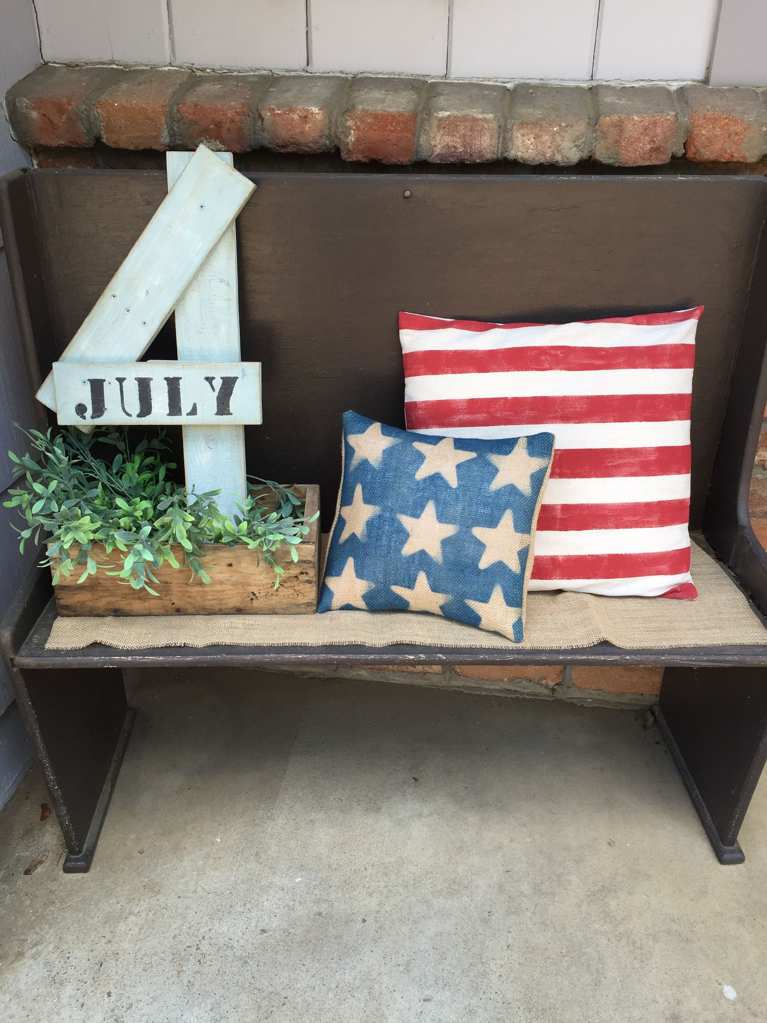 Pillow #1: Painted red stripes on fabric. Pillow #2: spray painted ...