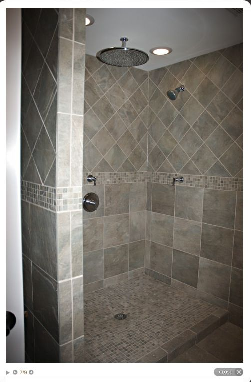 Large Tile Shower With Double Shower Heads And Bench Seat Large Shower Tile Double Shower Heads Shower Tile