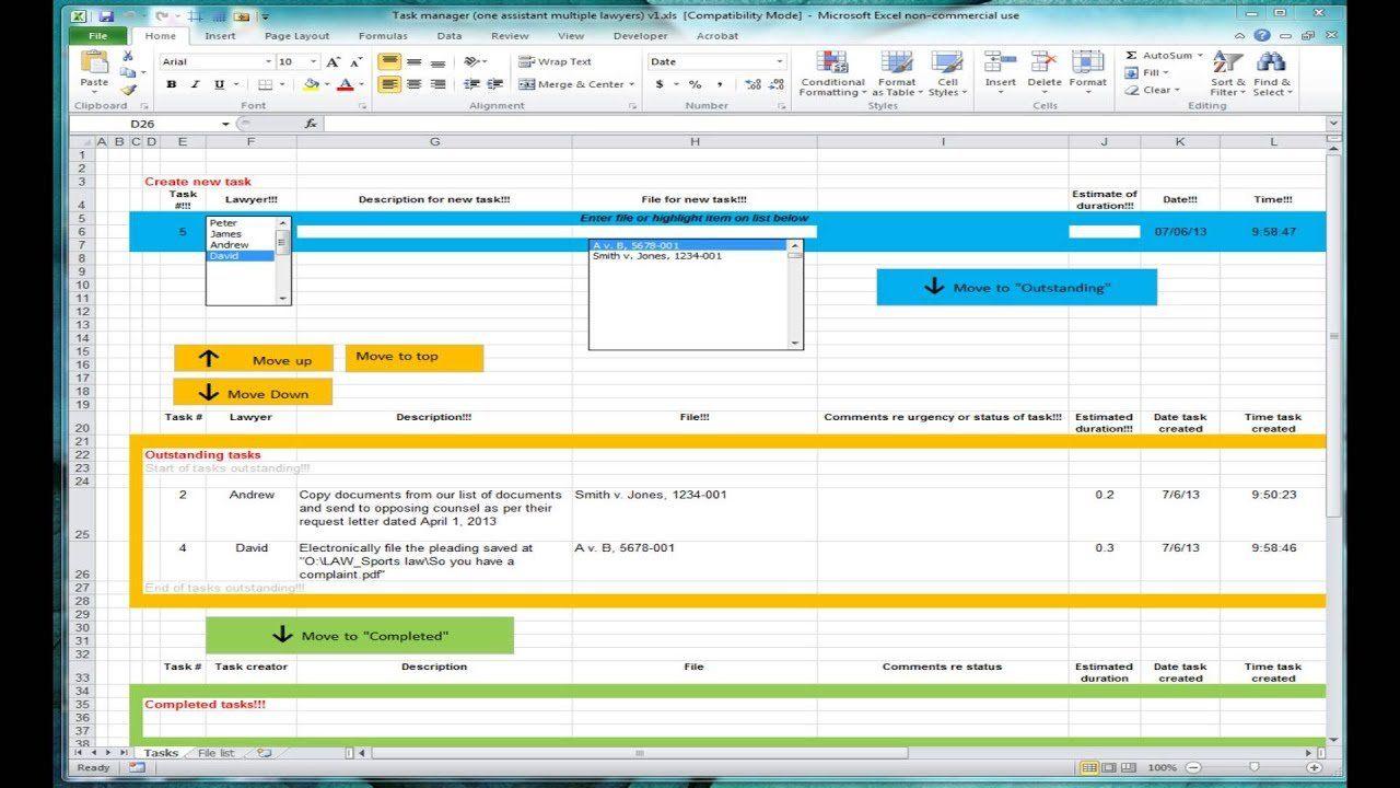 Excel Spreadsheet For Tracking Tasks