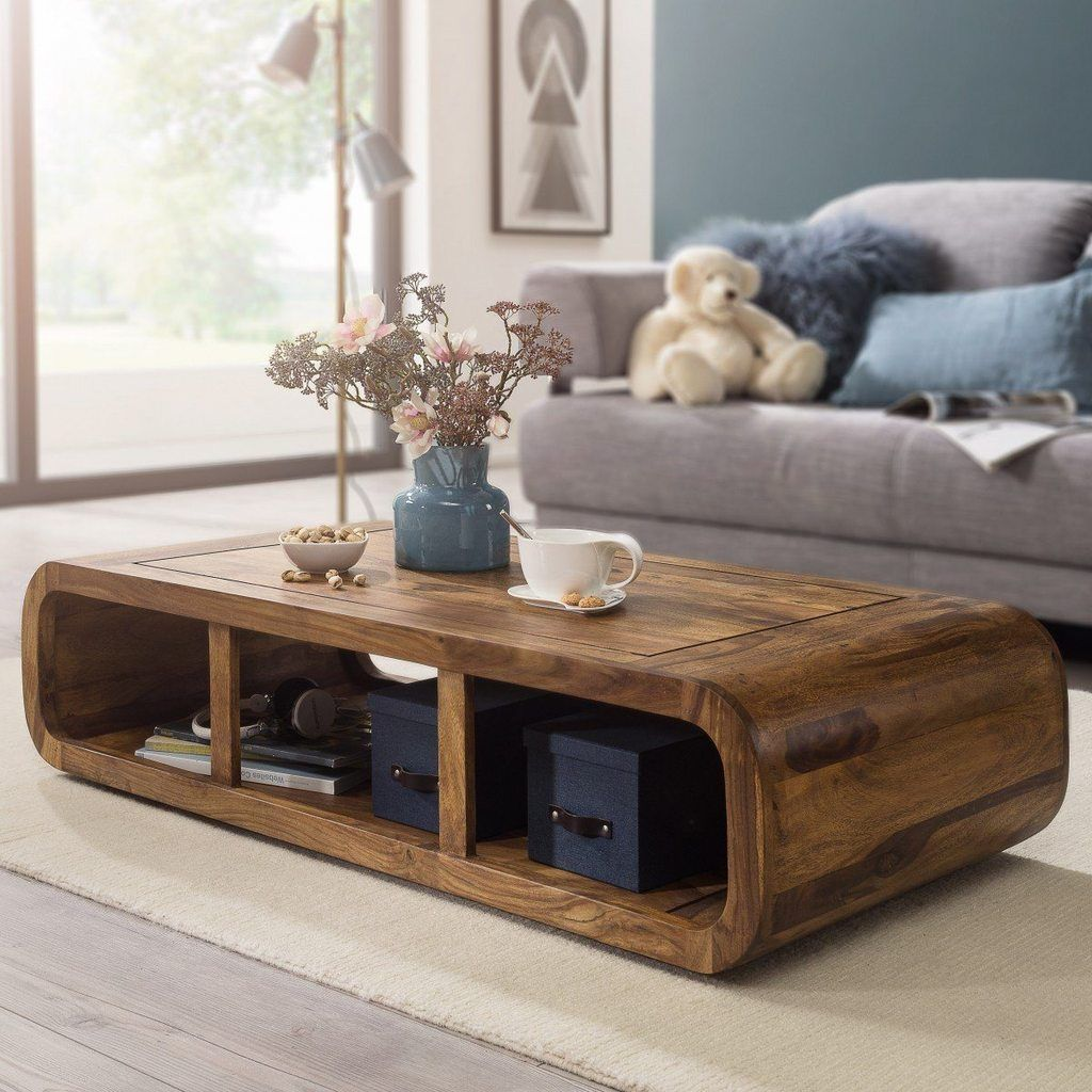Solid Wood Curved Coffee Table - Saraf Furniture   Solid ...