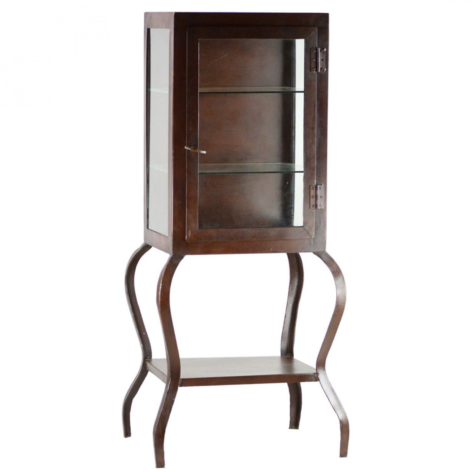Glass Showcase in Metallic Brown Finish $790.00 #thebellacottage #shabbychic #metallicbrown
