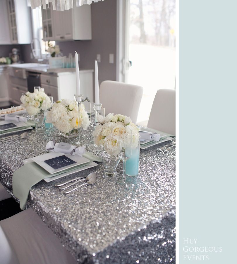 silver glitter sequin table cloth dining table  http://www.mirrormirrorincbridal.com