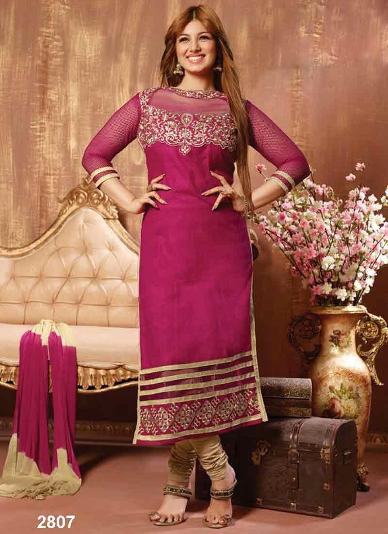 Designer salwar kameez mesmeric peach color net designer suit -  Ayeshatakia Latest Rani Pink Designer Salwarkameez Craftshopsindia Craftshopindia