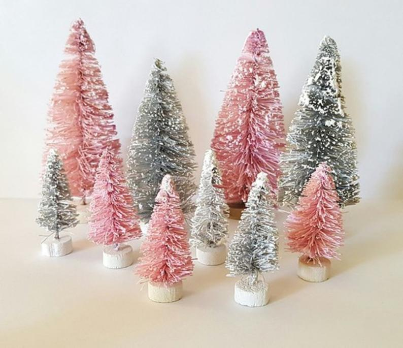 Lot 10 Mini Pink Silver Mix Miniature Sisal Bottle Brush Etsy In 2020 Small Pink Christmas Tree Flocked Christmas Trees Silver Christmas Decorations