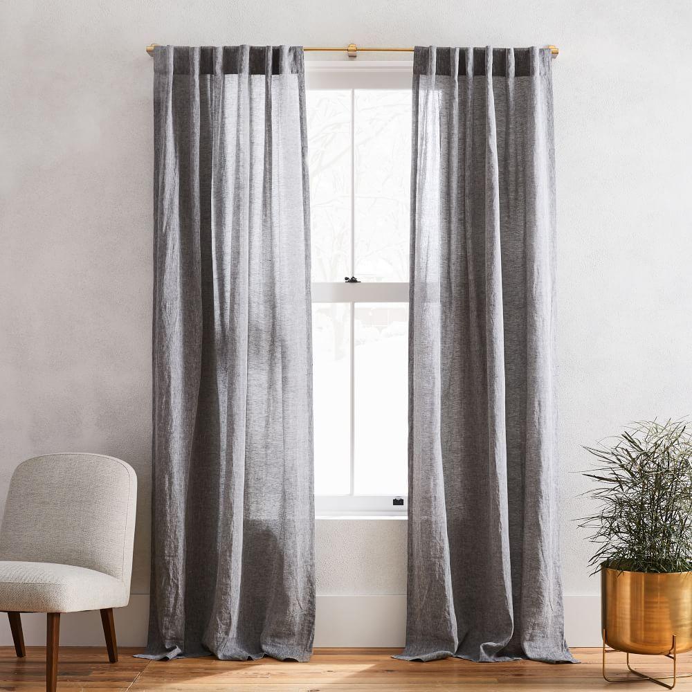 Semi Sheer Belgian Flax Linen Melange Curtain Slate In 2020 Curtains Linen Curtains Charcoal Curtains