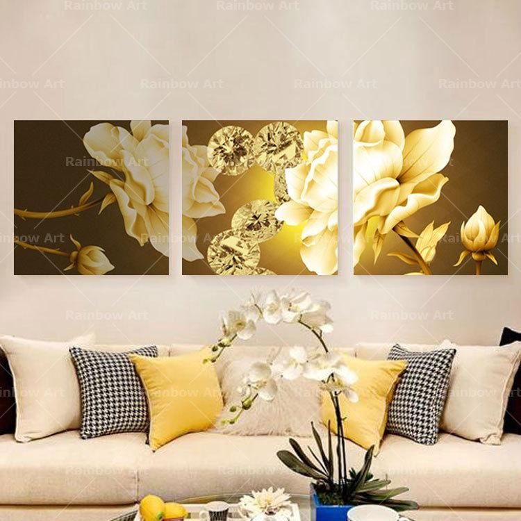 3 Panel Modern Abstract Rose Flower Painting Canvas Wall Art ...