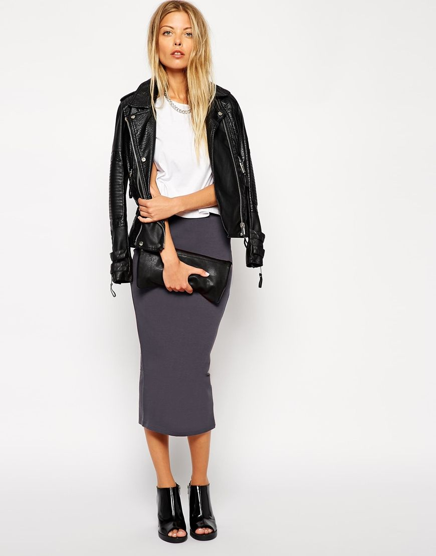 d2ed4b5f6e7 ASOS Midi Pencil Skirt in Jersey