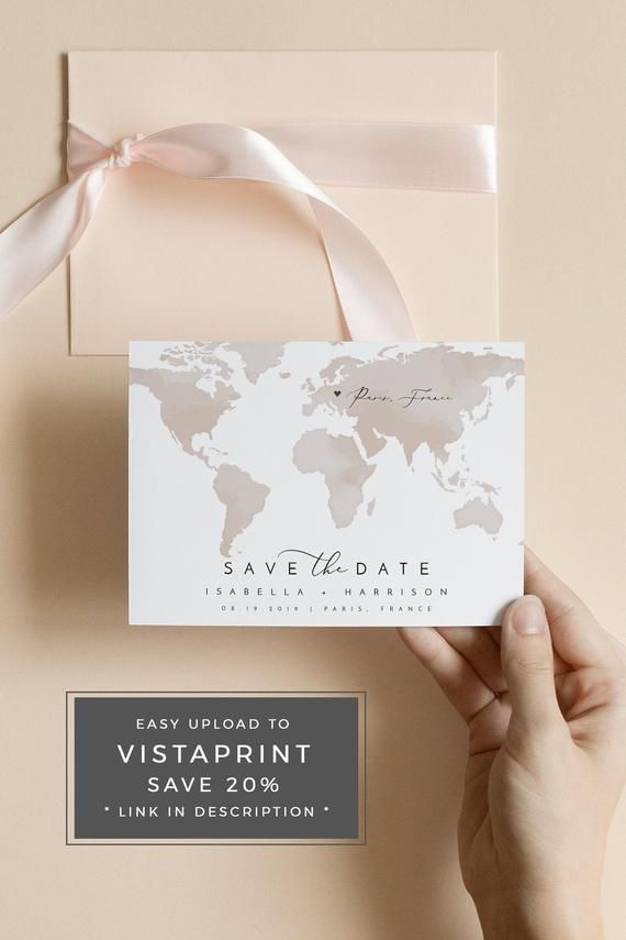 Photo of CARMEN | Destination Wedding Save the Date Template, Watercolor Map Save the Date Postcard, Map Save the Date, Travel Save the Date Templett