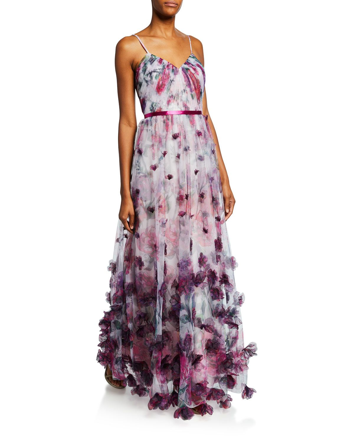 6e31970628 Marchesa Notte Floral-Print Sweetheart Spaghetti-Strap Tulle Gown w/ 3D  Chiffon Flowers