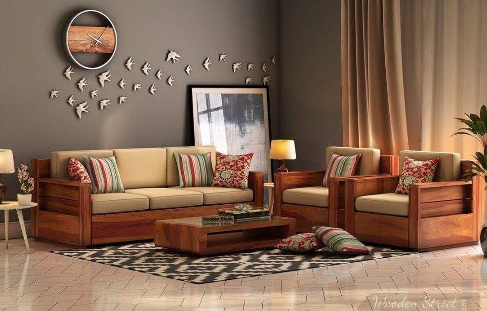 Buy Marriott Wooden Sofa 3 1 1 Set Honey Finish Online In Endearing Sofa Set Designs In 2020 Wooden Sofa Set Designs Furniture Design Living Room Wooden Sofa Designs
