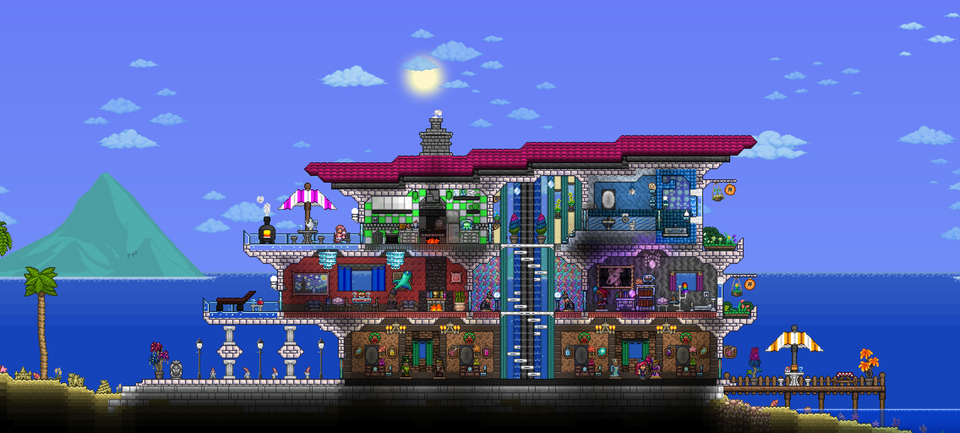 My First Proper House In The 1 4 Stylist Beach Villa Terraria Terraria House Ideas Beach Villa Beach