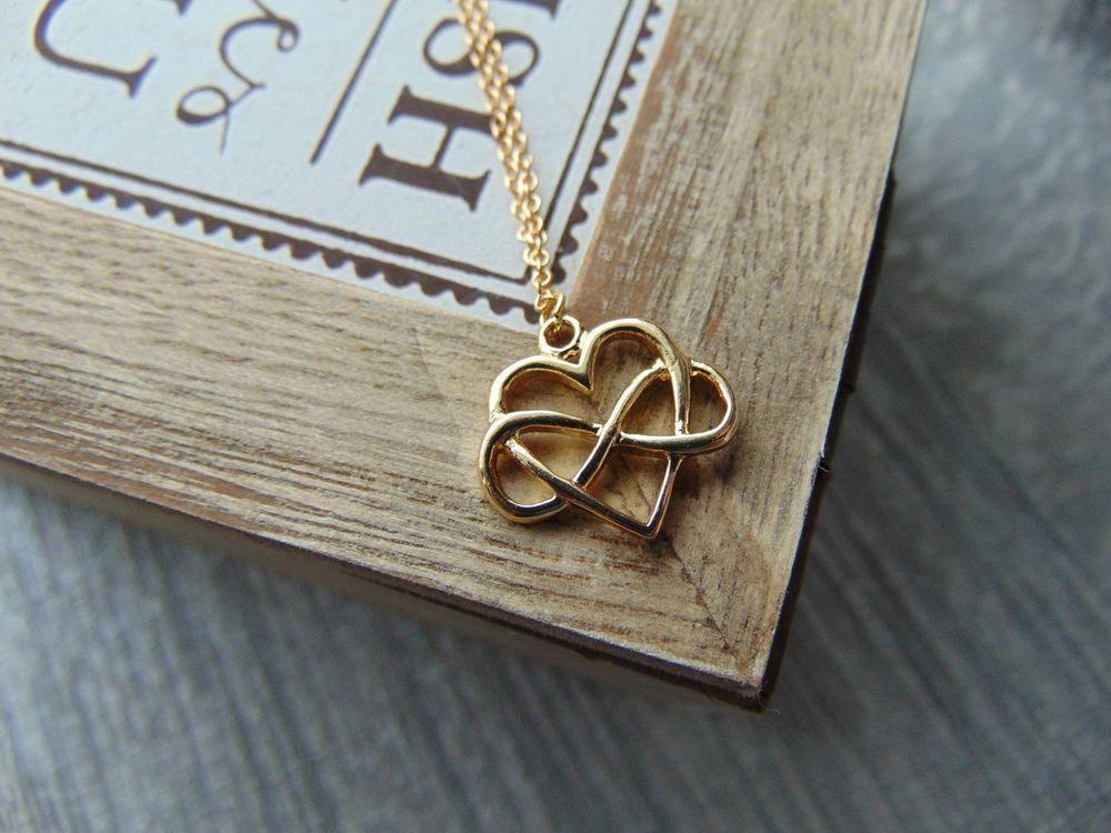 Gold Infinity Heart Pendant On Chain Necklace Polyamory Jewellery Uk Jewelleryuk