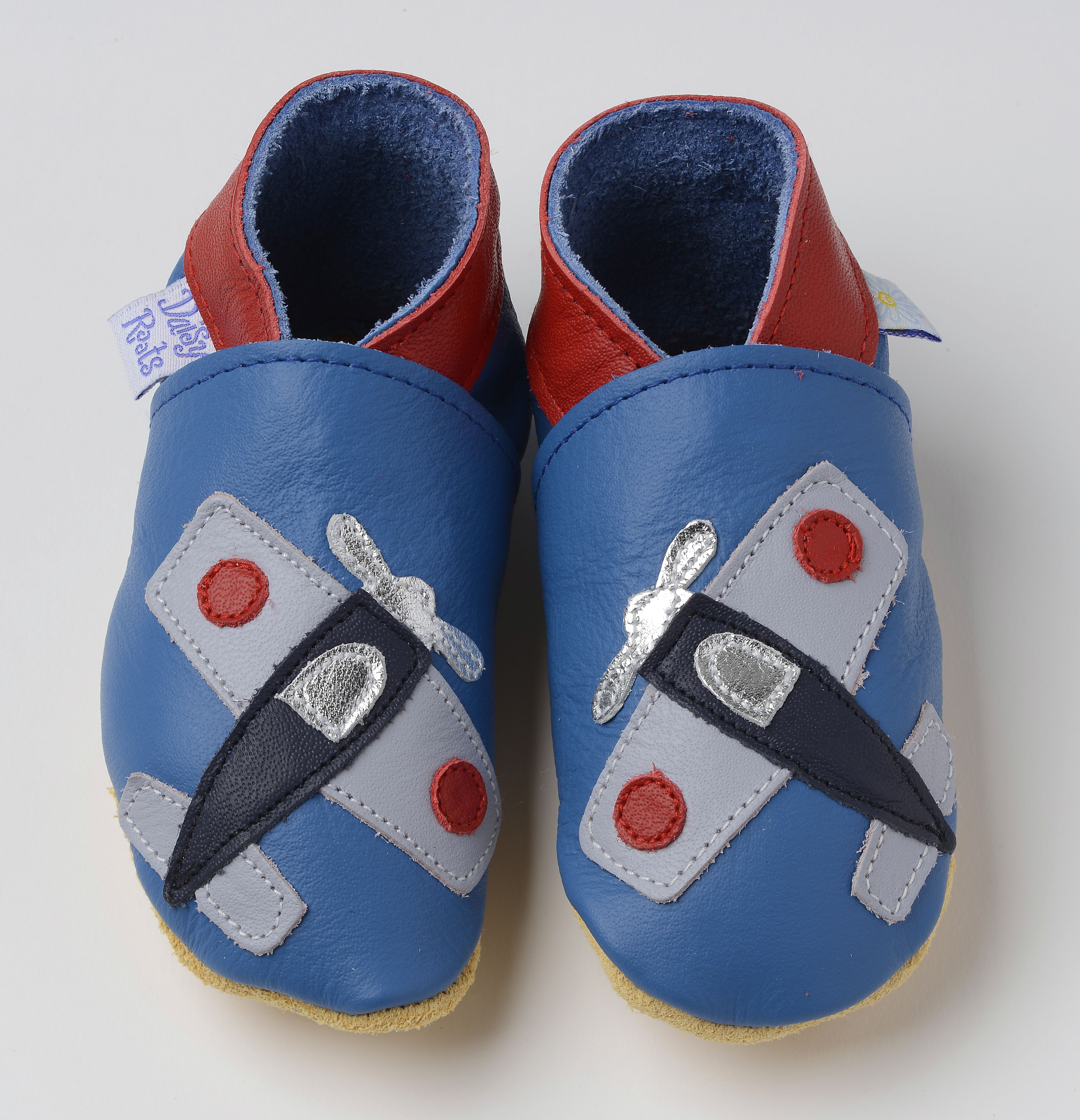 Aeroplane Navy Plane on Sky Blue soft soled baby bootie shoes t