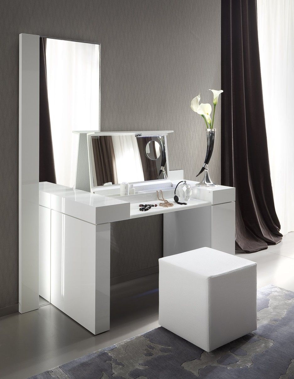 Bedroom dressing table with mirror - Bedroom Modern White Wooden Make Up Table And Rectangular Mirror Also White Leather Puff Also