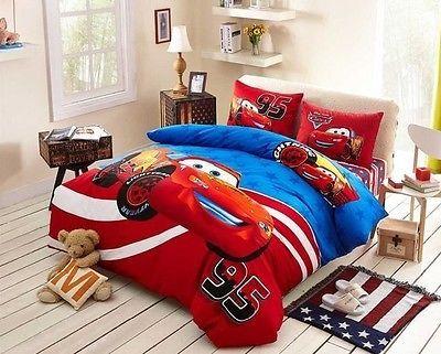 Twin Queen Size Red Cars Lightning Mcqueen Duvet Cover Bedding Set
