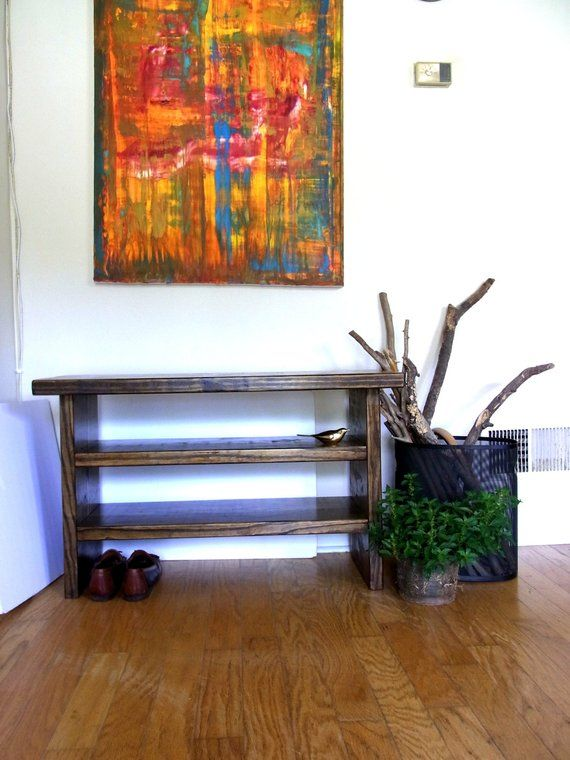 Tall Rustic Bench Entryway Hallway Mudroom Storage Bench Shoe Bench