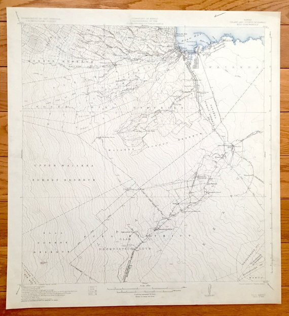 Antique Hilo, Hawaii 1932 US Geological Survey Topographic Map ...