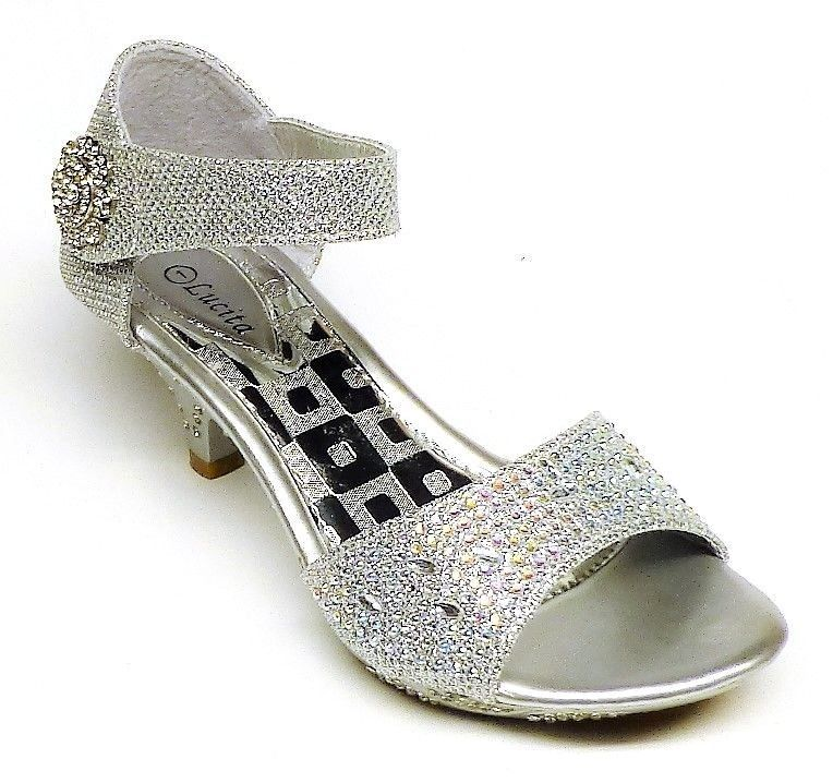 4 SILVER Girls/' Fashion Ankle Strap Wedge Dress Shoes size 3