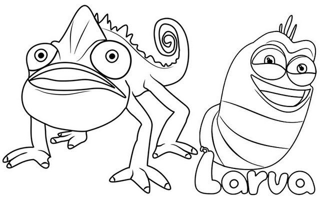 Prism Chameleon And Red Larva Coloring Page In 2021 Coloring Pages Coloring Pages For Kids Color