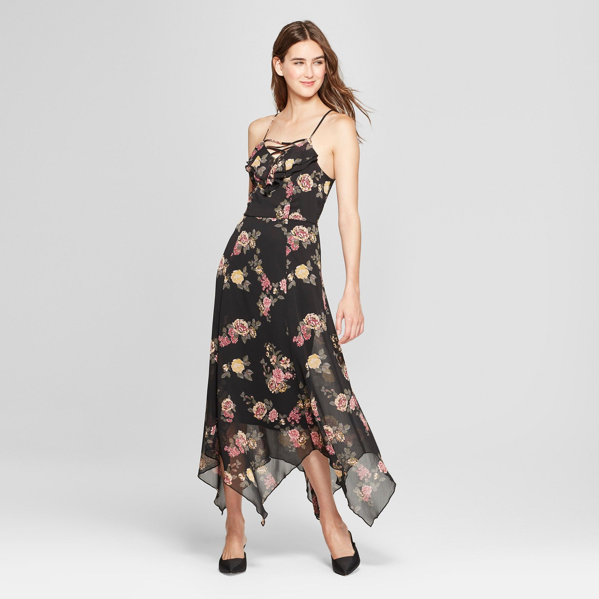 696ef78f5aa2 Women's Floral Print Ruffle Lace-Up Maxi Dress - Almost Famous (Juniors')  Black XL