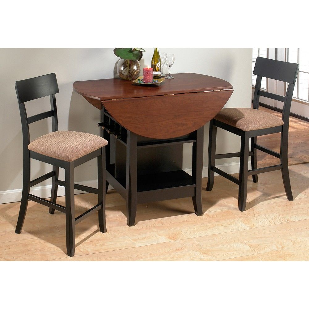 Charles 218-48 Wood Counter Height Table & Stools in Brunette ...