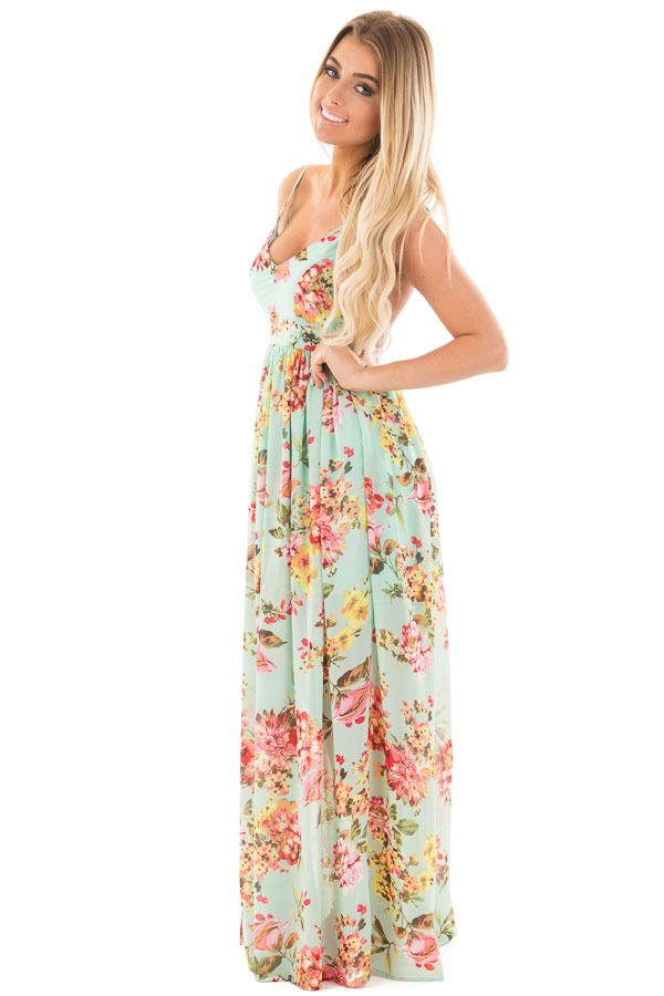 44bcb1f03e72ac Lime Lush Boutique - Mint Floral Print Open Back Maxi Dress