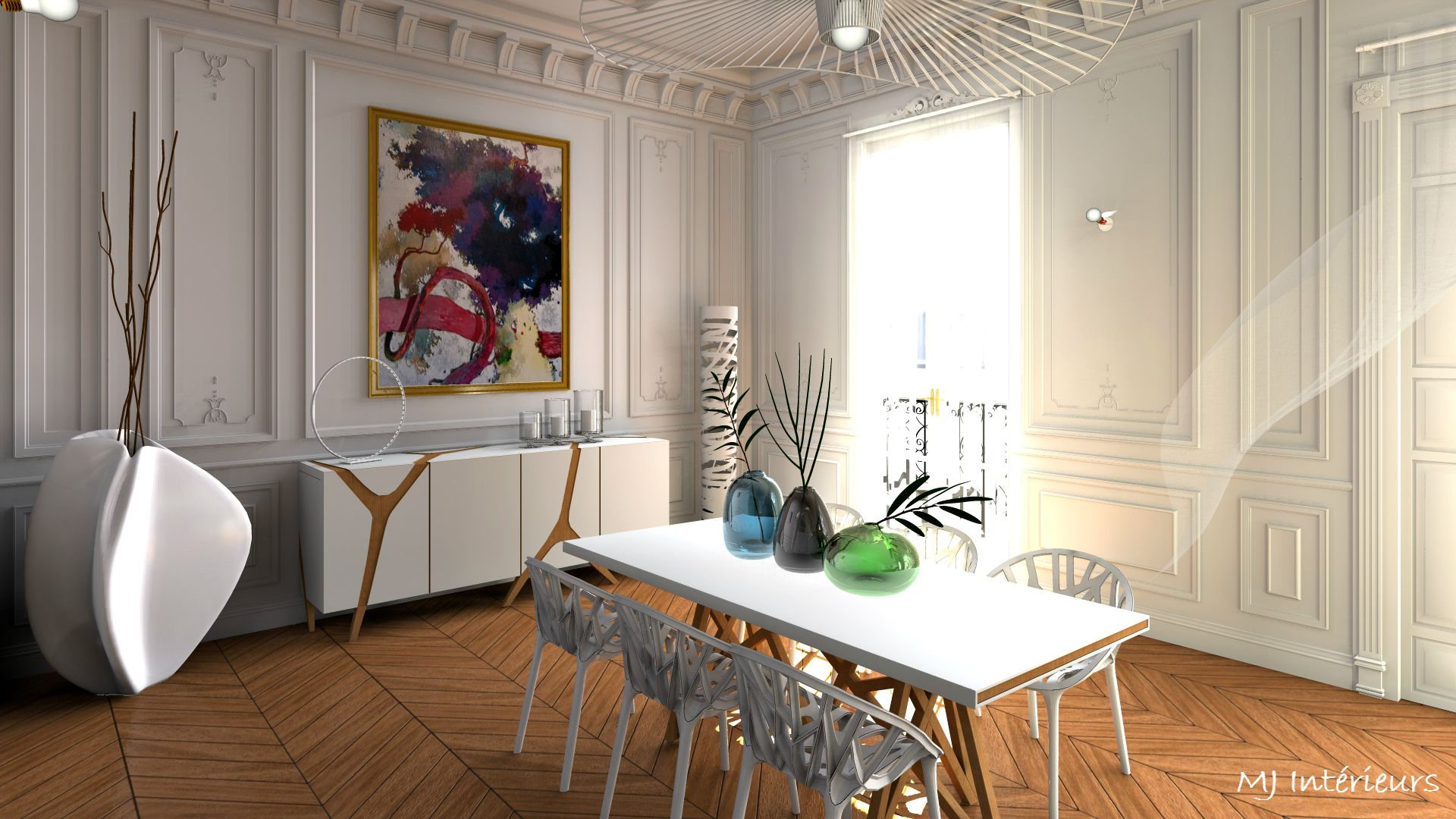 Salle manger au design contemporain dans un appartement - Decoration appartement haussmannien ...